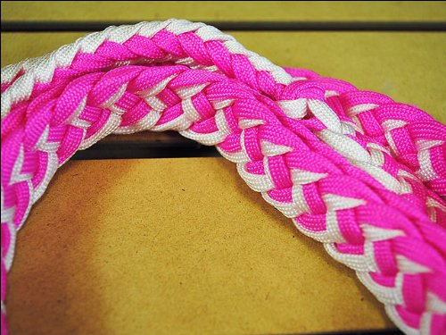 Pink White Braided Poly Barrel Racing Contest Reins Flat W/easy Grip Knots 1 Inch X 8ft