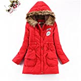 Feilongzaitianba Winter Women Jackets And Coats Parkas For Woman 13 Colors Wadded Jackets Warm Outwear With A Hood Large Femme Thick S237 Red Xl
