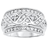 10k White Gold Wide Band Diamond Ring, Birthstone of April