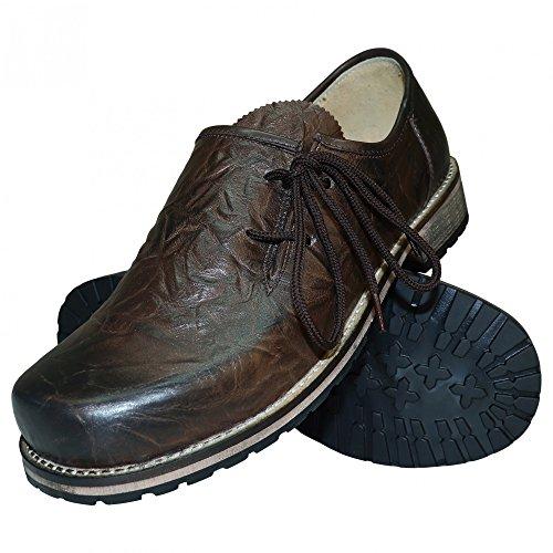 Trachtenschuhe Haferlschuhe Trachten-Schuhe Glattleder Braun Antik-Leder Glatt speckig Schnürschuhe Lederschuhe Halbschuhe Herrenschuhe zur Lederhose Oder Anzug Schuhe für Herren