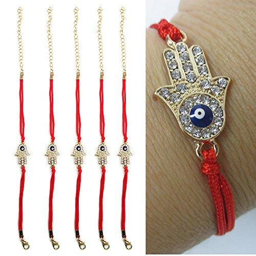 5 Hamsa Bracelets Evil Eye Crystal Cz Gold Red String Kabbalah Lucky Charm Gift ()