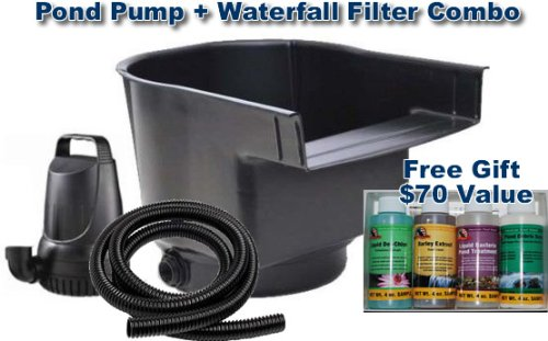3300 GPH Pond Pump and Waterfall Filter Combo Kit with Free Pond Care kit and 25ft Kink Free Tubing (Water Combo Pump Kit)