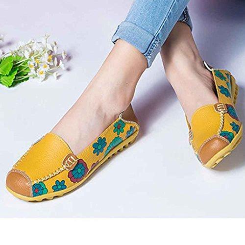 Kaiki Neue Frauen Lederschuhe Loafers Soft Freizeit Flats Weibliche Casual Schuhe Yellow