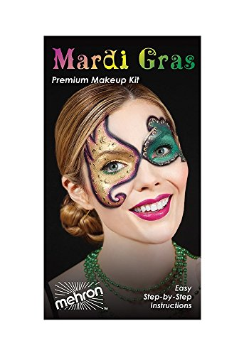 Mardi Gras Carnival Character Face Makeup Kit By Mehron - Eye Mask Professional Masquerade Make Up Tools Set - Palette, Eye Stencils, Brushes, Lip Cream, Party Necklaces, Wipes & Instructions (Festive Makeup Kit)