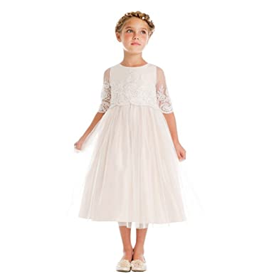 Sweet Kids Big Girls Champagne Sequin Cord Detail Junior Bridesmaid Dress 7-12 - Beige