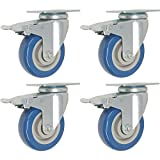 4 Pack Caster Wheels Swivel Plate w/ Brake Casters On Blue Polyurethane Wheels (5 inch with Brake)