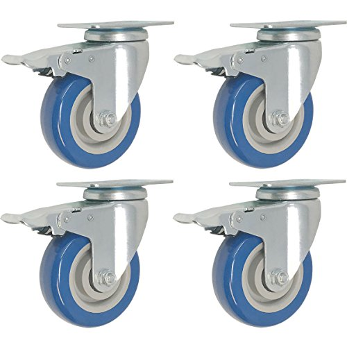 4 Pack Caster Wheels Swivel Plate Brake Casters On Blue Polyurethane Wheels (4 inch with Brake)