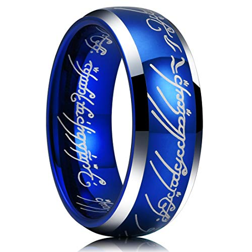 Sapphire Comfort Fit Wedding Band - King Will Magic 7mm Tungsten Carbide Wedding Band Sapphire Blue Lord of Ring Comfort Fit Highly Polished(9)