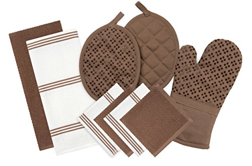 Sticky Toffee Silicone Printed Oven Mitt & Pot Holder, Cotton Terry Kitchen Dish Towel & Dishcloth, Brown, 9 Piece Set by Sticky Toffee