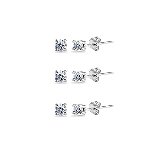 2ab7a763e 3-Pair Set Sterling Silver Clear 3mm Round Stud Earrings Made with Swarovski  Crystals