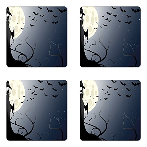 Lunarable Halloween Coaster Set of Four, Beautiful Witch in Twilight on High Hill at Hazy Night Magic Tale, Square Hardboard Gloss Coasters for Drinks, Night Blue -
