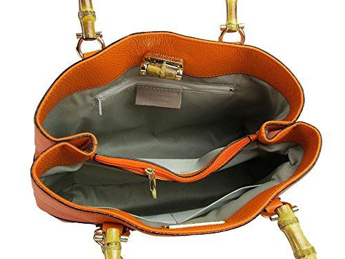 borsa vera pelle manico bamboo e tracolla made in italy