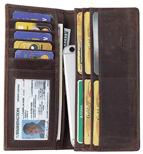 Mou Meraki RFID Blocking Brown Mens genuine leather Bifold Long Wallet (Best Mens Long Wallet)
