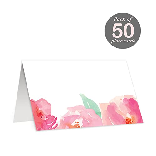 amazon com 50 pink tented place cards for wedding baby shower