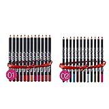 Hunputa 24PCS/1 Set Waterproof Easy To Color Lip Liner Pencil Eye Shadow Combinations 12 Colors