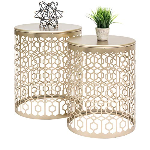2PCS Set Table Round Gold Decorative Accent Sofa Side Table Nightstand Display Art Deco Vintage Style or a Bedroom, Living Room, Patio, - Sofa Art Deco Table