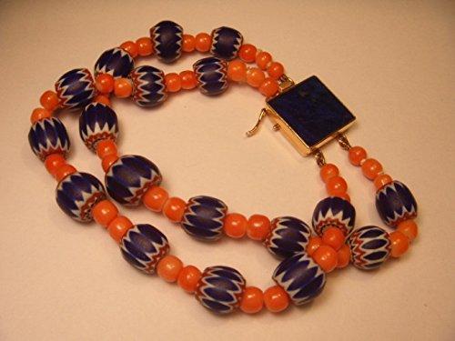Handmade 14K Yellow Gold Red Undyed Coral Lapis Lazuli Millefiori (14k Coral Bracelet)