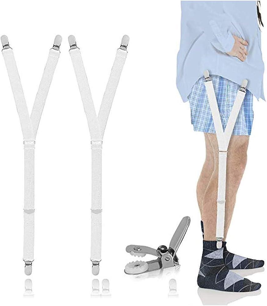 Ducomi Giarrettiera Uomo per Camicia Bretelle Reggicalze Elastiche e Regolabili con Morsetti di Bloccaggio Antiscivolo Tengono la Camicia Tirata e in Forma dentro i Pantaloni