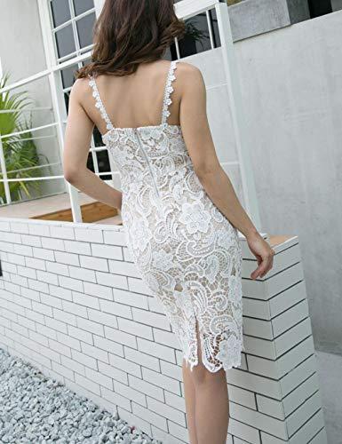Vestidos Correa V Espagueti De Blanco En Floral Con Hanime Alta Vestido Encaje Forro Cintura Albaricoque Y Cuello xf8w6nv
