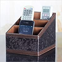 Asobilor Retro Carved PU Leather Remote control/controller TV Guide/mail/CD organizer/caddy/holder