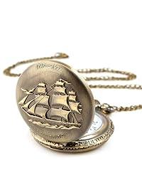 OYang Unisex Antique Case Vintage Brass Rib Chain Quartz Pocket Watch Ship