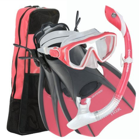 U.S.Divers Diva 1 LX/Island Dry LX/Trek/Travel Bag Combo, Coral, Medium (8-11)