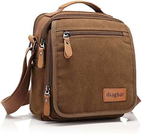 ibagbar Small Canvas Shoulder Bag Messenger Bag Work Bag