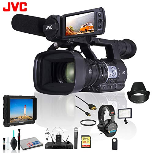 (JVC GY-HM620 ProHD Mobile News Camera + Lav Microphone System, 128 GB SD Card and More )