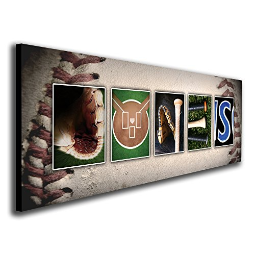 Personalized Name Prints Art (Block Mount - Personalized Baseball Name Art Print for man cave, boys room, or office!)