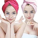 Hairizone Microfiber Hair Towel 2 Pack Absorbent Quick Dry Hair Turban Wraps Twist Hair Drying Towel with Elastic Loop for Kids Girls Women (Pink/Roseo)