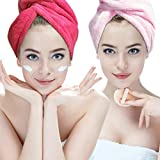 Bleaching Hair At Home Without A Kit - Absorbent Microfiber Hair Towel 2 Pack Hairizone Quick Dry Hair Turban Wraps Twist Hair Drying Towel with Elastic Loop for Kids Girls Women (Pink/Roseo)