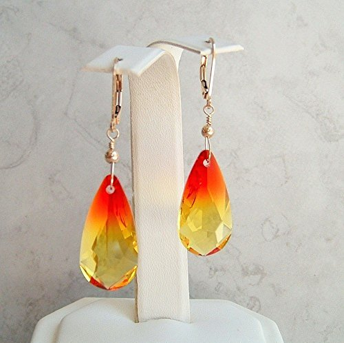 Flaming Teardrop Briolette Gold Filled Leverback Earrings Made w/Swarovski Crystals Gift (14k Opal Jewelry Box)