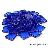 Milltown Merchants™ 7/8'' (22mm) Ultramarine Blue Transparent Glass Mosaic Tiles, 3 Pound (48 oz) Bulk Assortment of Mosaic Tiles