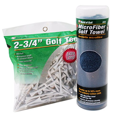 (Golf Tees 2-3/4 Inch (250 Count) and Microfiber Towel)