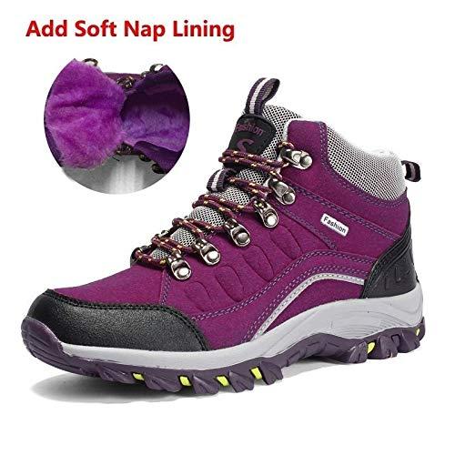 Ajouter violet sieste QLJ01 Hiver Hommes Chaussures De Randonnée en Plein Air Gardez Au Chaud Montagne paniers Femmes Imperméable Antidérapant Résistant à l'usure Sport Chaussures D'entraîneHommest