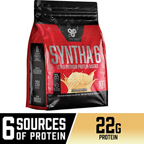 BSN SYNTHA-6 Whey Protein Powder, Micellar Casein, Milk Protein Isolate Powder, Vanilla Ice Cream, 97 Servings (Package May Vary)