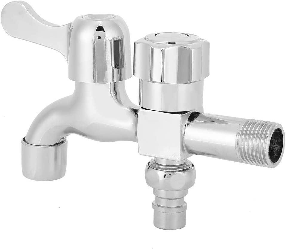 Dual-Control Water Outlet Thread Alloy Silver Wall-In Double Water Outlet Tap Washing Machine Mop Pool Water Faucet For Kicthen Water Tap Faucet