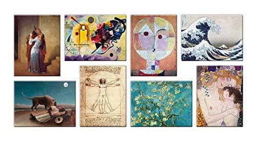 LuxHomeDecor Cuadros famosos 8 piezas 40 x 30 cm Impresion sobre lienzo con marco de madera Hayez Kandinsky Klee Hokusai Leonardo da Vinci Van Gogh Klimt Rousseau