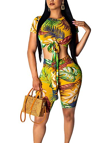 - Sexy Club 2 Piece Outfits Workout Crop Tops Shorts Pants Set Jumpsuit Yellow L