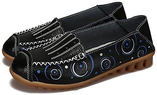 Fangsto Kvinna Läder Blommor Loafers Lägenheter Skor Slip-ons Sty-3 Black