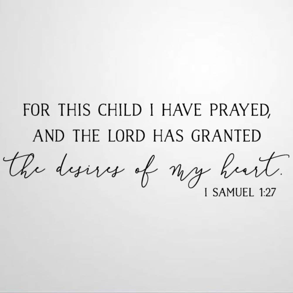 for This Child I Have Prayed Wall Decal Saying,Nursery Room Wall Sticker Family Room,Wall Art Decor for Boys Room Kids Bedroom Living Room