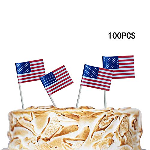 Efivs Arts American Flag 4th of July Cupcake Toppers Picks for Party Decorations Supplies, Toothpicks Flags, 100 - Toothpicks Usa