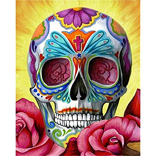 (Decmart 5D Diamond Painting Full Drill Skull Head Square Rhinestone Cross Stitch Diamond Art Painting Number Kits 12 x 16 inches)