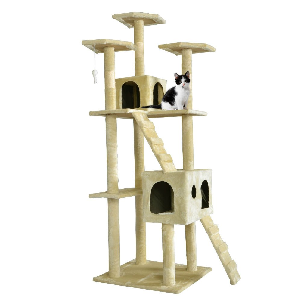 New 73'' Cat Tree Scratcher Play House Condo Furniture Toy Bed Post Pet House T07 Pet Supply (BEIGE)