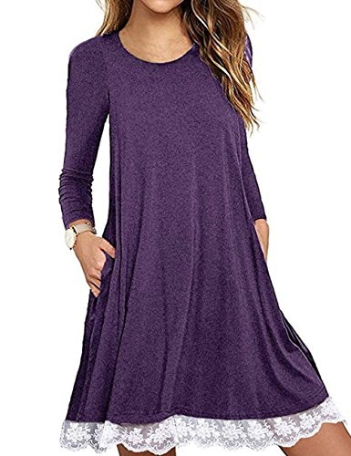 (Halife Women's Long Sleeve Pleated Lace Hem Loose Swing Casual Dress with Pockets Knee)