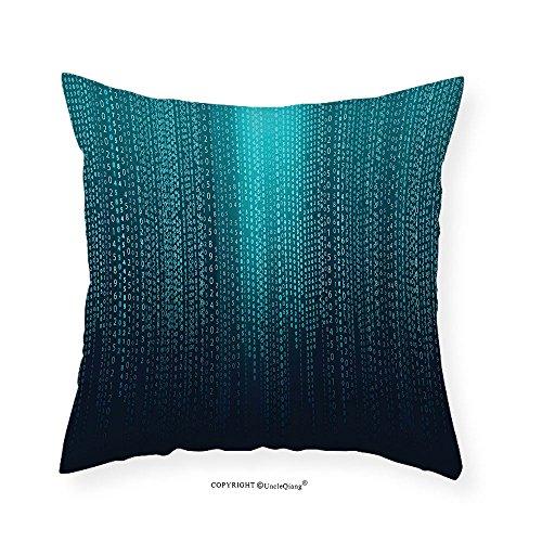 VROSELV Custom Cotton Linen Pillowcase Digital Web Computer Programmer Futuristic Matrix Display with Algorithms Code Image for Bedroom Living Room Dorm Petrol Blue Aqua 22