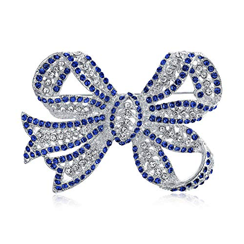 Bling Jewelry Large Fashion Statement Royal Blue Crystal Ribbon Bow Brooch Pin for Women Silver - Bow Sapphire Pin