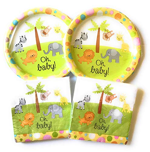 Cute Baby Shower Themes (Baby Shower Paper Plates and Napkins Set - 36 Large Plates and 40 Napkins Featuring Cute Animal)