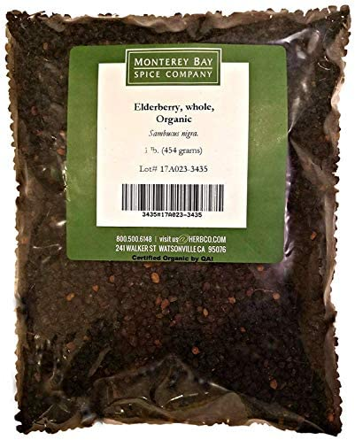 Elderberries CERTIFIED ORGANIC 1 LB Bag Whole 100 NATURAL Sambucus nigra