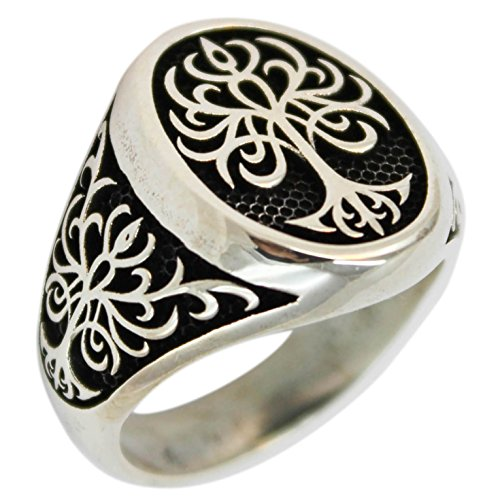 Tree of Life 925 Sterling Silver Turkish Jewelry Men Ring (11) -